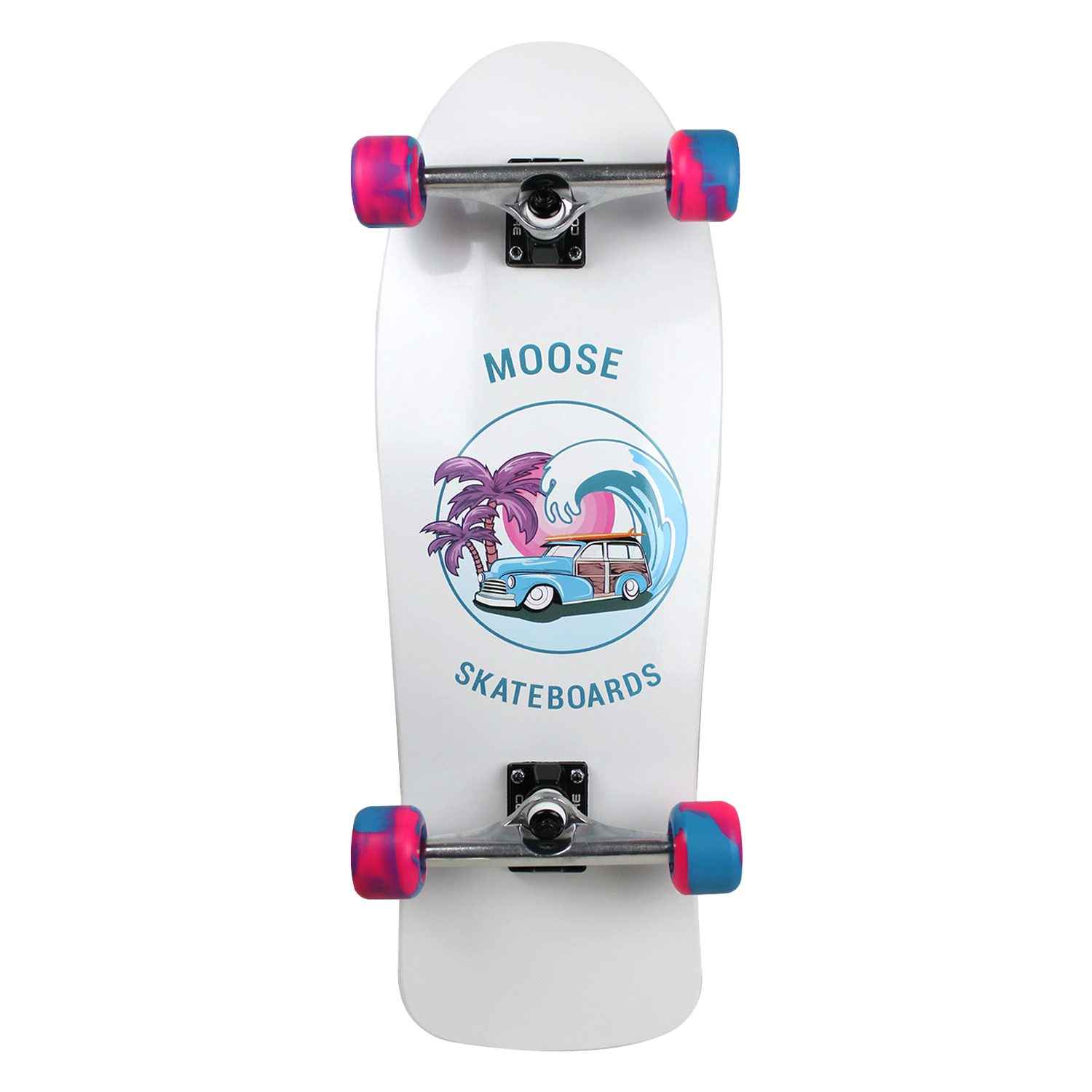 Moose Skateboard Old School Complete Sunset Cruise Blue Pink 10in x 30in