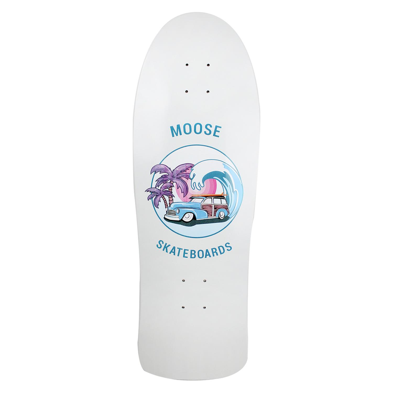 Moose Skateboard Old School Deck Sunset Cruise Blue Pink 10in x 30in